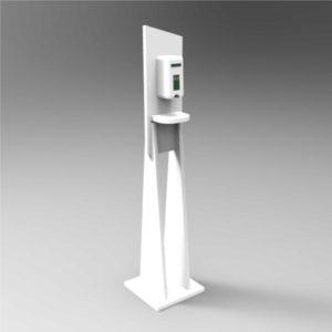 Colonna forex con dispenser automatico per liquido o gel igienizzante mani da un litro. Funziona grazie a un sensore infrarossi alimentato a batterie. Assicure la massima igiene ed è ideale per locali pubblici, uffici, studi medici, hotel e ristoranti.