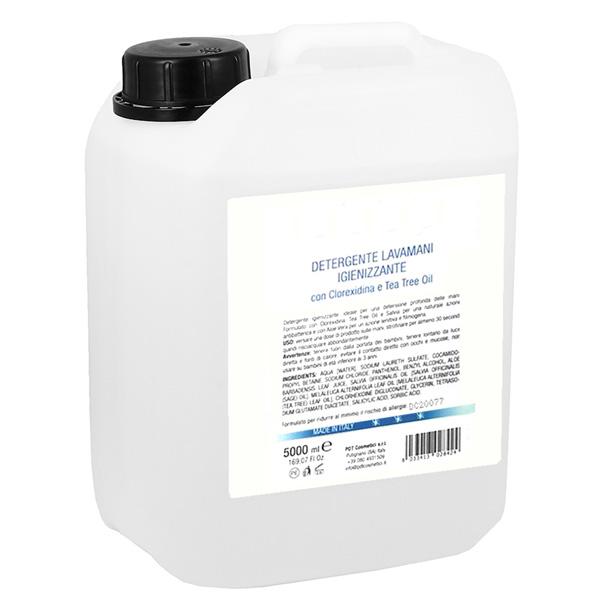 Sapone igienizzante mani da 5 lt con glicerina vegetale e Clorexidina. Ottimo prodotto per la tua igiene personale e rimozione dei batteri sulle mani.