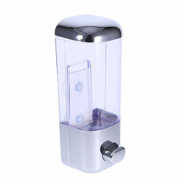 Dispenser distributore sapone liquido a parete da 500 ml in resina trasparente con serratura di sicurezza