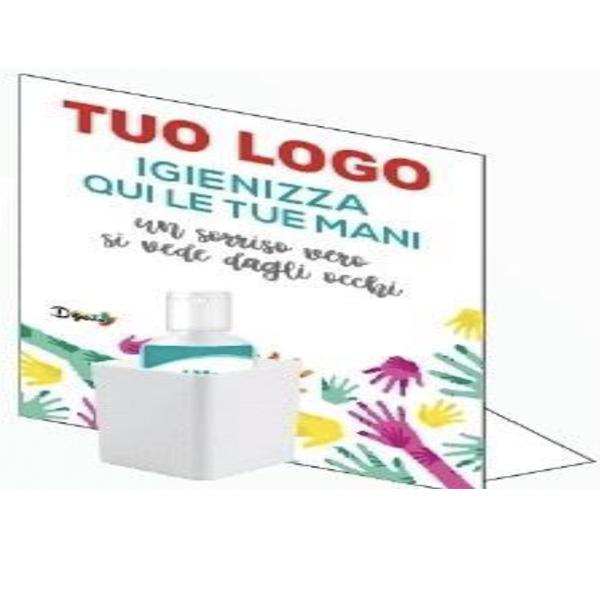 Porta gel igienizzante per le mani da tavolo personalizzabile con struttura in forex autoportante. Misura 20x25 cm Incluso gel igienizzante per le mani da 100 ml.
