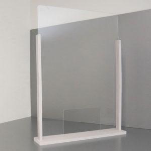 Schermo parafiato in plexiglass con base di supporto