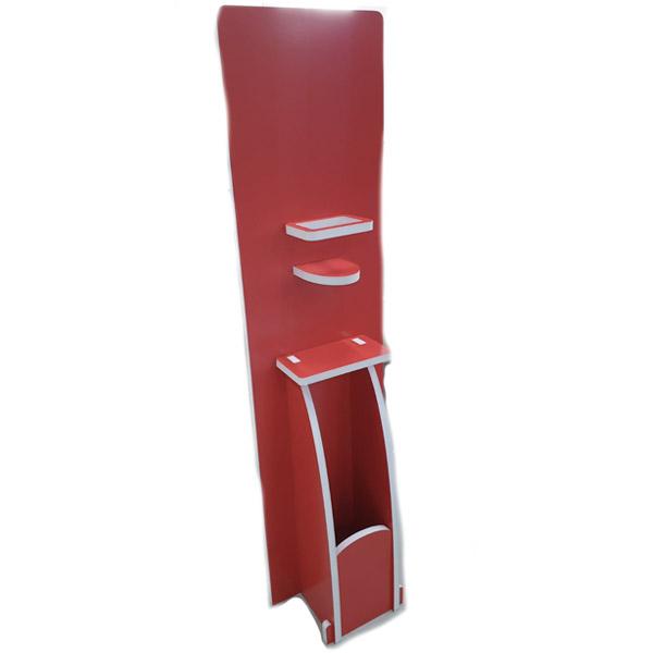 Totem verticale porta dispenser gel igienizzante mani, guanti e cestino con struttura in forex autoportante senza grafica Misure: 30x40 cm h 130 cm Vano porta dispenser ø 12 cm